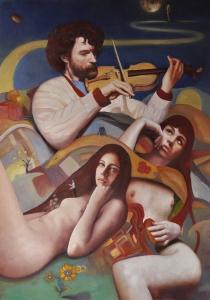 Andrea Esposito Il violinista e altri racconti 70x100 olio su tela 2015