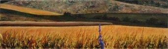 Serafini Albonico Il fiore viola 6,5x22 olio su tavola 2013
